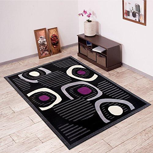 Alfombra De Salón Moderna – Color Negro Púrpura De Diseño Piedras – Suave – Fácil De Limpiar – Top Precio – Diferentes Dimensiones S-XXXL 160 x 220 cm