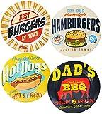 2 Stück _ Teller -  Retro Essen & Burger  - Speiseteller -  25 cm - FLACH - aus Melamin / Kunststoff Plastik - für Erwachsene & Kinder - Dekor / Vintage Retro - buntes Design - Campingteller / Campinggeschirr - Plastikgeschirr / Plastikteller - Servierteller - mehrweg Camping Set / Kunststoffteller bunt - Melaminteller - Geschirr