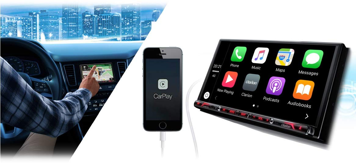 Clarion-NX807E-Radio-Navigation-Apple-CarPlay-mit-Einbauset-fr-Suzuki-SX4-EYGY-ab-062006