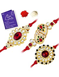 Sukkhi Resplendent Gold Plated Kundan Rakhi Combo (Set of 3) with Roli Chawal and Raksha Bandhan Greeting Card For Men