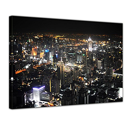 Bilderdepot24 Kunstdruck - Bangkok at Night - Bild auf Leinwand - 40 x 30 cm - Leinwandbilder - Bilder als Leinwanddruck - Wandbild Städte & Kulturen - Asien - Skyline von Bangkok
