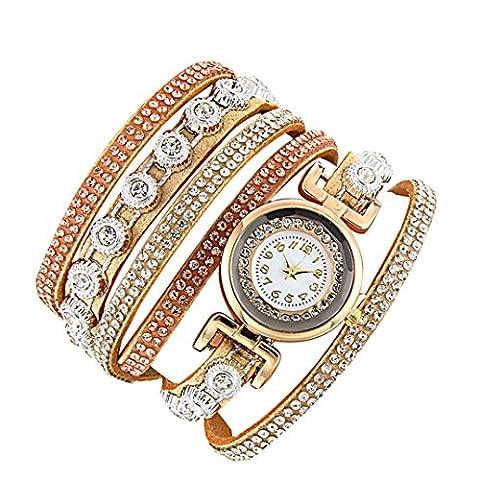 Minshao Mode Multi couches simili cuir Band Bracelet à quartz Strass Montre-bracelet pour coffret cadeau pour femme Orange