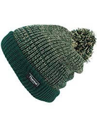 Thinsulate Chunky Knit Marl Bobble Beanie Hat with Turn-up