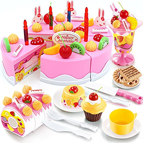 HenMerry DIY Schneiden Geburtstagskuchen Küche Essen Spielzeug Mädchen Geschenk Für Kinder 75 STÜCKE (Rosa)