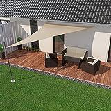IBIZSAIL Premium Sonnensegel - Dreieck (rechtwinklig) - 700 x 500 x 500 cm - SAND - wasserabweisend (inkl. Spannseilen)