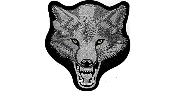 XXL Wolfkopf Hund B/öser Wolf Motorrad Rockabilly MC Biker Aufn/äher BACKPATCH