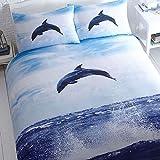 Süße Delphin Meer Bettwäsche Bettbezug-Set, Schwarz/Weiß, weiß, King Size