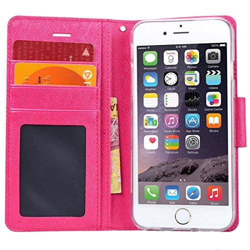 WE LOVE CASE Coque iPhone 6, Étui en Cuir a Rabat de Protection Housse Étui Coque iPhone 6S Portefeuille, Coque avec Rabat Motif Officielle Personnalise Fonction Support Stand Fente Carte et Magnétiqu Rose