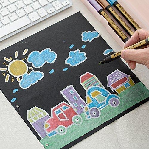 Metallic Marker Pens, Beupro 10 Stück Metallic Permanent Marker für Kartenherstellung DIY Fotoalbum Gästebuch Gebrauch auf irgendeiner Oberfläche-Papier Glas Kunststoff Keramik Töpfer - 5