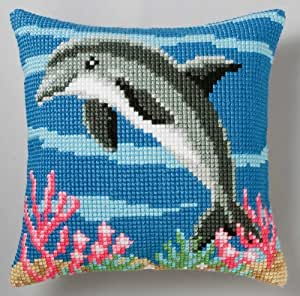 canevas imprimé coussin dauphin collection vervaco