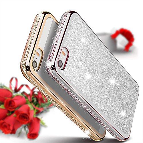 iPhone SE-5-5s Hülle Glitzer-Strass Case Schutzhülle (4,7 Zoll) im stylishen Glamour glitzer Crystal Look mit Strassteinen und Aufdruck für das iPhone SE-5-5s - Farbe: Rosé - Rose - Nur original von T Silber - Glitzerrückseite
