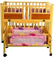Mee Mee Baby Wooden Cot With Swing & Mosquito Net (Brown)