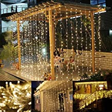 LE Cortina de Luces LED 3m*3m 306 LED, Blanco Cálido, Resistente al Agua, 8 Modos de Luz