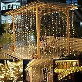 LE Lichterkettenvorhang 306 LEDs, 8 Modi 3m x 3m IP44 wasserfest Sternen LED Lichterketten für Weihnachten / Deko / Party, Weihnachtsbeleuchtung, Hochzeit usw. (warmweiß)