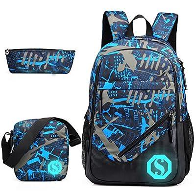 Graffiti Rucksack, drei Set of School Bag Light-Weight Rucksack mit externem USB-Ladestation