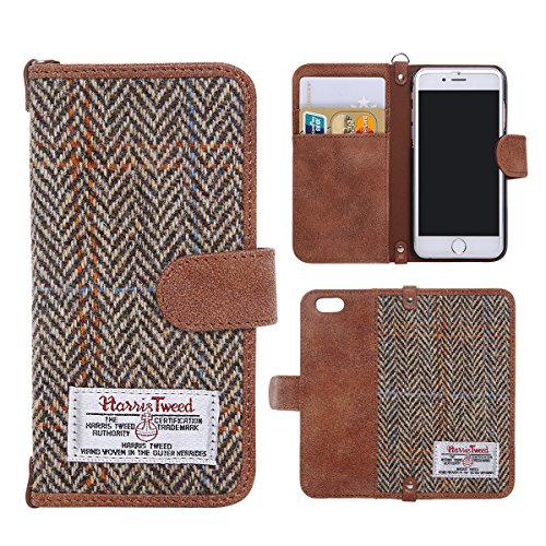Iphone 6 Wallet-fällen (Harris Tweed iPhone 6/6S Geldbörse Fall, MONOJOY® Premium Harris Tweed Marke Stoffe Wallet Case, Kreditkarte Halter, rutschfest, Baumwolle Material, Retro Magnetic Flip Folio Cover Case für iPhone 6 und iPhone 6S (11,9 cm) in Braun)