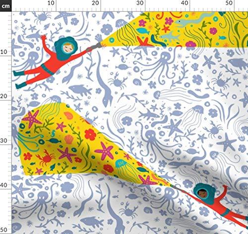 Unterwasser, Ozean, Wissenschaftler, Marine, Fisch, Tiefsee Stoffe - Individuell Bedruckt von Spoonflower - Design von Littleknids Gedruckt auf Baumwoll Spandex Jersey -