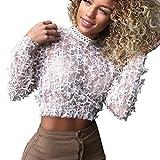 Hffan Damen Hollow Sexy Shirt Durchsichtig Perspektive Leichtgewicht Bluse Langarm Mode Elegant Tops Schmetterling Bogen Dekoration Stehkragen Oberteile Schwarz Weiss(Weiß,Medium)