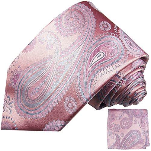 Paul Malone Krawatten Set 100% Seide pink paisley Hochzeitskrawatte mit Einstecktuch