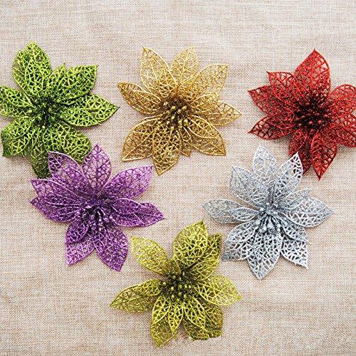 JIALE3536 Gefälschte Blumen,Kunstblumen,Unechte Blumen 15 Cm Weihnachtsstern Weihnachtsbaum Dekoration Hochzeit Dekoration Schmuck Simulation Weihnachten Blumen
