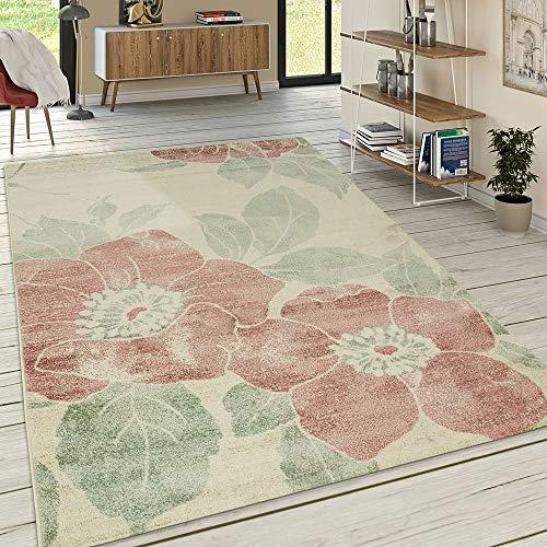 Alfombra Diseño Salón Pelo Corto Estampado Floral