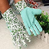 3 PCS Gardening Gloves Heavy Duty Canvas Non-Slip Silicone Spot Women/Girls Work Gloves with Beauty Floral Print HY0003