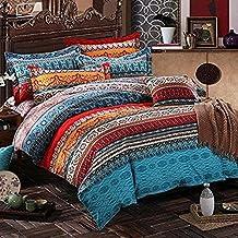 MeMoreCool - ropa de cama hermosa, con impreso de patrón de estilo Bohemio, de puro algodón peinado, con funda de colcha, sábana y almohadas (3 unidades), algodón, style5 flat, Matrimonio doble