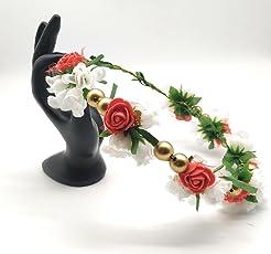 Satyam Kraft Girl's Adjustable Wooden Stick Floral Tiara Crown (sk-251, Multicolor)