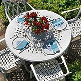 Weißes Amy 120cm Rundes Gartenmöbelset - 1 Weißer AMY Tisch + 4 Weiße APRIL Stühle