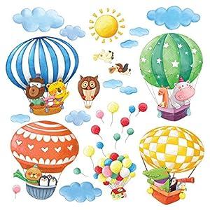 Decowall DA-1406B Tierheißluftballons Heißluftballons Flugzeuge Tiere Wandtattoo Wandsticker Wandaufkleber Wanddeko für Wohnzimmer Schlafzimmer Kinderzimmer
