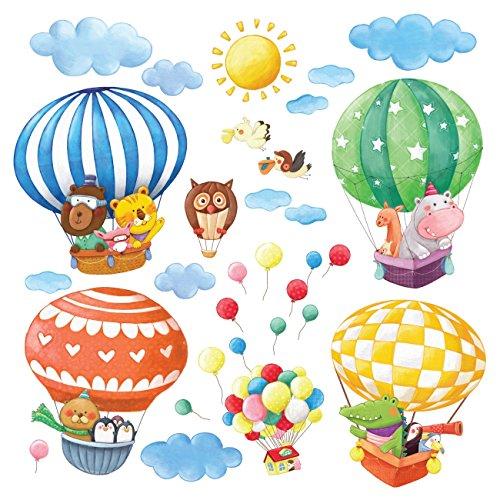DECOWALL DL-1406BL Globos Aerostáticos de Animales Vinilo Pegatinas Decorativas Adhesiva Pared Dormitorio Salón Guardería Habitación Infantiles Niños Bebés (Extra Grandede)