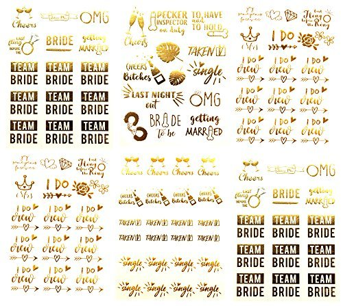 Team Bride Bachelorette - Temporäre Tattoos - Über 100 metallische Tattoo-Designs in Gold und Silber (6 Blatt) Bachelorettesy Joy Collection -