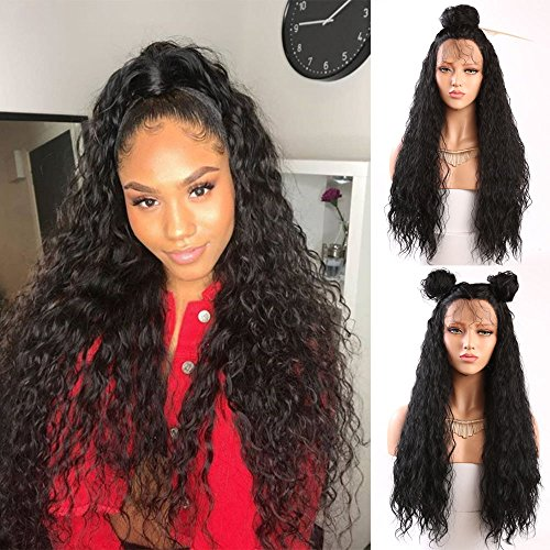Fureya Hair Loose Curly Glueless Synthetic Lace Front Wigs for Women Heat Resistant Fiber with Baby Hair 24 inch Natural Black Lace Wigs - Extra Body Daily Shampoo
