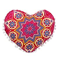 Viahwyt New Home Gift 2 Size Heart-shaped Indian Pouf Mandala Meditation Cushion Cover Bohemian Floor Throw Pillow Cases Room Sofa Decor New Home Gifts For Couple (FF, 43x35)