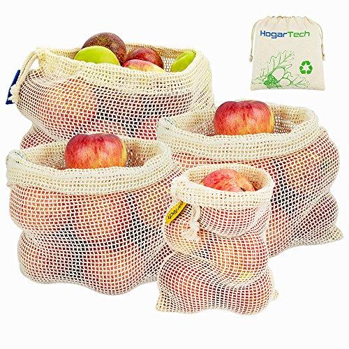 Obst- und Gemüsebeutel - Wiederverwendbar Einkaufstaschen aus Baumwolle/Gemüsenetze Obstbeutel mit Gewichtsangabe 4er Sets Zero-Waste Lebensmittelbeutel   Produzieren Taschen (1*S, 2*M, 1*L)