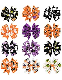 Lomire 12 Piezas Lazos de Pelo para niñas Halloween, Pinzas de Pelo Horquillas Clips Arcos para bebés Infantil