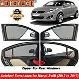 #9: Autofact Half Magnetic Window Sunshades/Curtains for Maruti Swift (2012 to 2017) [Set of 4pc - Front 2pc Half Without Zipper ; Rear 2pc Full with Zipper] (Black)