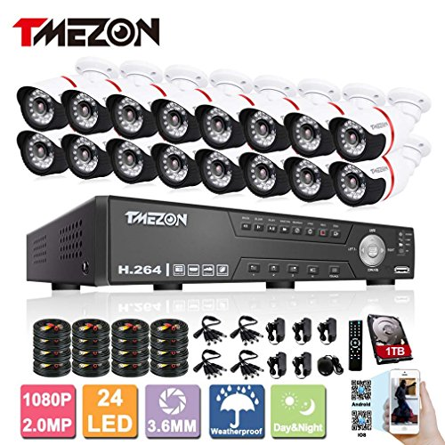 Cheapest TMEZON AHD 16CH 1080P Home Security DVR Video Surveillance System 1TB HDD 16×2.0MP HD Weatherproof 80ft Night Vision Indoor/Outdoor AHD High Quality CCTV Camera,Support Remote Monitor By Smartphone