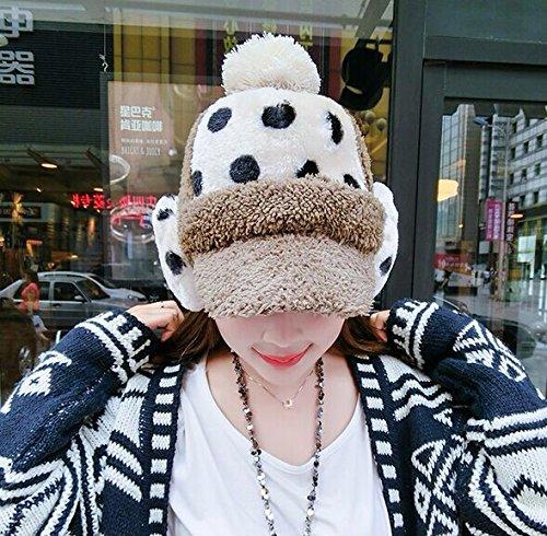 Winter Hat Knit Russian Cute Trapper Warm Cool Girl Women Tan White Polka