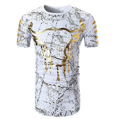 Kostüm Stars 80's Sport - BURFLY Herren T-Shirt 2018 Mode Männer Sommer Casual Print O Hals Pullover Kurzarm Stierkopf Druck T-Shirt Top Bluse (L, Weiß)