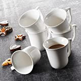 Malacasa, Serie Amparo, 6 Teiligen Set Kaffeeservice Cremeweiß Porzellan Kaffeetasse Tassen 4,75 Zoll / 12*9,5*10cm / 340ml Becher Teetasse Kaffeebecher-Set Bechersets für 6 Personen