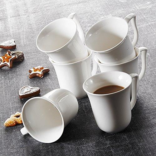 MALACASA, Serie Amparo, 6 TLG. Kaffeeservice Cremeweiß Porzellan Kaffeetasse 340ml Becher