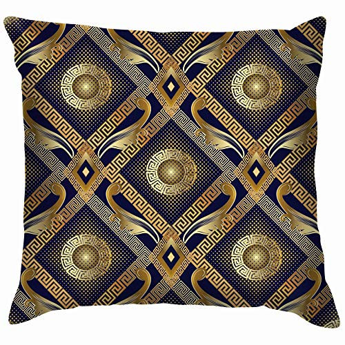 Halftone Floral Versace Cotton Linen Home Decorative Throw Pillow Case Cushion Cover for Sofa Couch 18X18 Inch ()