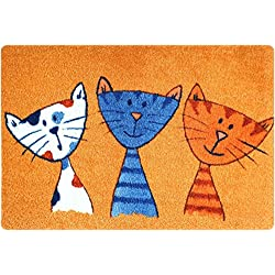deco-mat Paillasson Design Paillasson antidérapants lavables Cat Orange 40x60cm