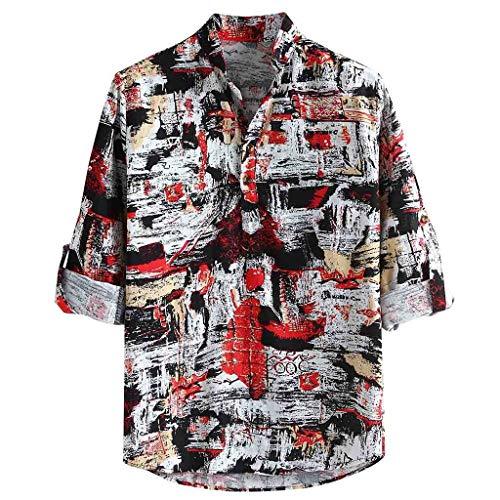 Dwevkeful Langarmshirts MäNner Langarm Top Herren Freizeithemd Shirt Ethnischen Wind Stehkragen Hemden Sweatshirt National Style Polo Casual Rot -