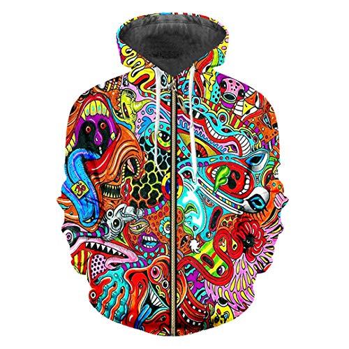 Herren Lose 3D Jacke Drucken Red Ghost Hiphop Zip Up Hoodies Sweatshirts Red Ghost 4XL