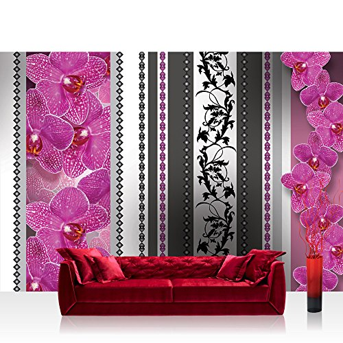 Fototapete 368x254 cm PREMIUM Wand Foto Tapete Wand Bild Papiertapete - Orchideen Tapete Orchidee Blume Ornamente Herzen Streifen Ranke lila - no. 2349