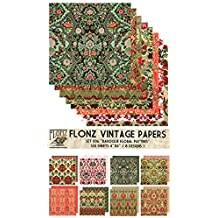 "Paper Pack (24sh 6""x6"") Baroque Arabesque FLONZ Vintage Paper for Scrapbooking and Craft"