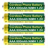 Pack of 4 Cordless Telephone Rechargeable Batteries Full Size AAA 600mAh 1.2V NiMH BuyaBattery Branded