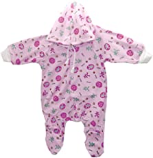 Baby Basics Baby Girl's And Boy's Hosiery Cotton Hooded Romper (Pink, 3-6 Months)